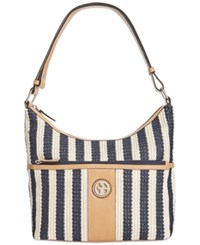 Giani Bernini Striped Straw Hobo Only At Macy's Navy Natural