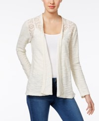 Style And Co Open Front Lace Yoke Cardigan Only At Macy's Warm Ivory