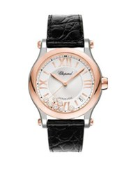 Chopard Happy Sport Diamond 18K Rose Gold Stainless Steel And Leather Strap Watch Black Rose Gold