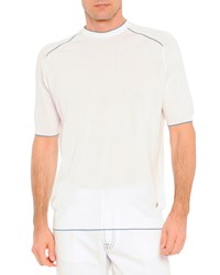 Stefano Ricci Knit Short Sleeve Sweater White