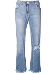 Magda Butrym Distressed Loose Jeans Blue