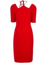 Olympiah Cut Out Details Midi Dress Polyester Spandex Elastane Red