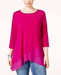Alfani Plus Size Crossover Hem Swing Top Only At Macy's Modern Orchid