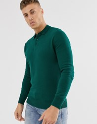 Brave Soul Knitted Long Sleeve Polo In Green