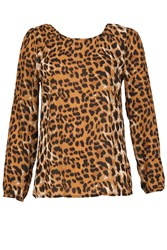 Izabel London Leopard Print Reveal Back Top Multi Coloured