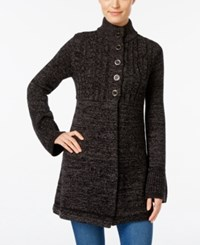 Styleandco. Style Co. Cable Knit Marled Cardigan Only At Macy's Dark Black Heather Grey