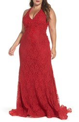 Mac Duggal Plus Size Women's Macduggal Lace Halter Dress Red