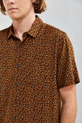 Urban Outfitters Uo Owen Leopard Rayon Short Sleeve Button Down Shirt Orange