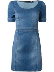 Love Moschino Denim Fitted Dress Blue