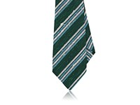 Kiton Men's Striped Silk Necktie Dark Green