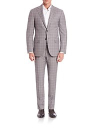 Corneliani Super 130 Woolen Suit Medium Grey Check