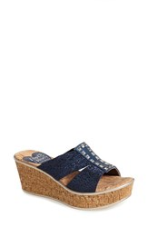 Love And Liberty Women's 'Nadia' Elastic Strap Slide Navy