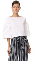 3.1 Phillip Lim Wide Sleeve Ruched Top White