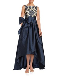 Adrianna Papell Embroidered Lace Hi Lo Gown Navy Nude