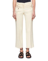 Carven Lace Up Cropped Bonded Crepe Straight Leg Trousers Cream