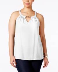 Inc International Concepts Plus Size Hardware Trim Halter Top Only At Macy's Windsor White
