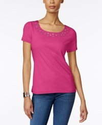 Karen Scott Embellished T Shirt Only At Macy's Wild Punch