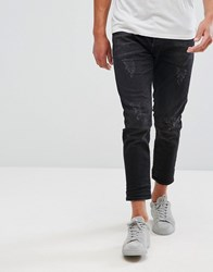 Selected Homme Jeans In Tapered Fit With Cropped Leg And Distressing Black