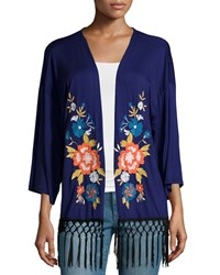 Neiman Marcus Embroidered Fringe Kimono Midnight Blue