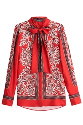 Alexander Mcqueen Printed Silk Blouse Red