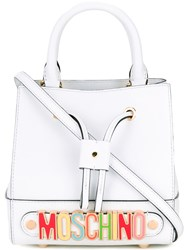 Moschino Rainbow Plaque Bucket Bag Women Calf Leather One Size White