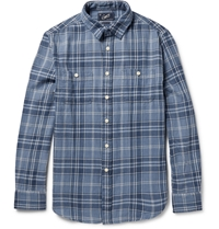 Grayers Emerson Checked Cotton Twill Shirt Blue