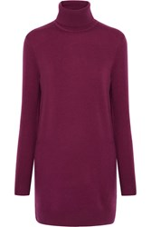 Equipment Oscar Cashmere Turtleneck Mini Dress Plum