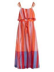 Diane Von Furstenberg Striped Cotton And Silk Blend Maxi Dress Red Stripe