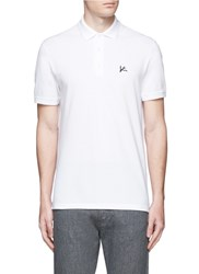 Isaia Logo Embroidery Cotton Pique Polo Shirt White