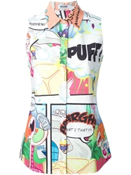 Moschino Cheap And Chic Comic Print Sleeveless Shirt