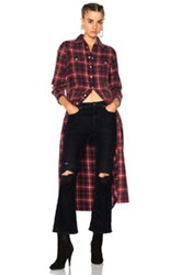 R 13 R13 Long Cowboy Shirt Dress In Checkered And Plaid Red Checkered And Plaid Red