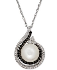 Macy's Freshwater Pearl 8Mm And Diamond 1 4 Ct. T.W. Pendant Necklace In Stering Silver