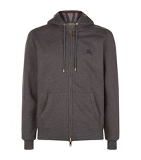 Burberry House Check Lined Hoodie Male Charcoal