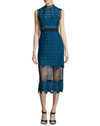 Self Portrait Scalloped Mixed Lace Midi Dress Teal