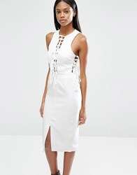Lavish Alice Plunge Tie Strap And Side Detail Midi Dress Off White