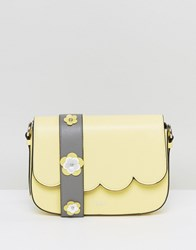 Dune Yellow Scalloped Cross Body Bag With Floral Applique Strap Yellow
