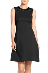 Maggy London Petite Women's Embellished Scuba Fit And Flare Dress Black