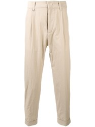 Paolo Pecora Cropped Trousers Men Cotton Spandex Elastane 50 Nude Neutrals