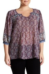 Stony Printed Chiffon Blouse Plus Size Multi