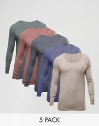 Asos Extreme Muscle Long Sleeve T Shirt With Scoop Neck 5 Pack Multi