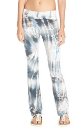 Women's Hard Tail Roll Waist Bootleg Flare Pants Lizard Blue Grey Tan Tie Dye