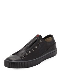 John Varvatos Laceless Leather Low Top Sneakers Black