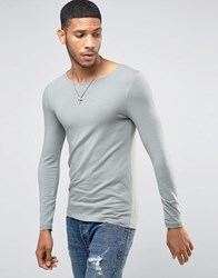 Asos Extreme Muscle Long Sleeve T Shirt With Boat Neck In Green Green