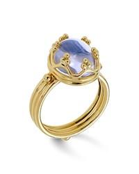 Temple St. Clair 18K Gold Crown Ring With Royal Blue Moonstone