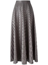 Golden Goose Deluxe Brand Pleated Herringbone Skirt Grey