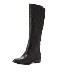 Adrienne Vittadini Keith Quilted Leather Knee Boot Black