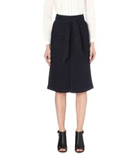Warehouse Belted Denim Midi Skirt Blue