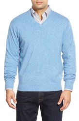 Men's Peter Millar High Twist Cashmere V Neck Sweater Tar Heel Blue