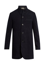 Blue Blue Japan Inverted Peak Lapel Cotton And Wool Blend Overcoat Navy