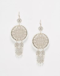 Oasis Statement Filigree Drop Earrings White
